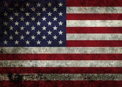American Flag with super dark grunge textured treatment ...