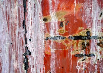 Abstract painting with reds, whites, yellows and blacks ...