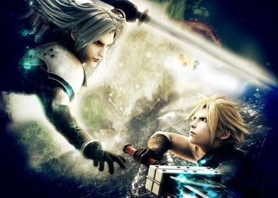Battle between Sephiroth and Cloud