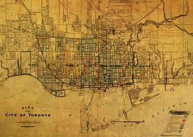 Vintage Street Map of Toronto Canada