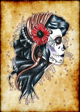 Day of the dead gypsy girl profile portrait, tattoo sty ...