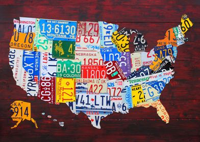 License Plate Map of the United States on Wood Planks b ...