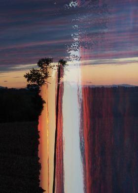 Cielo e terra con i colori del tramonto