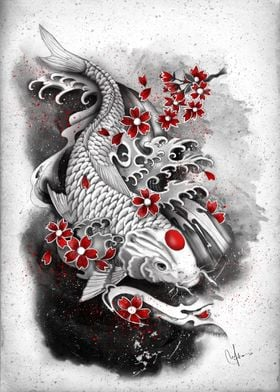 white koi and sakuras