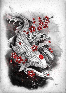 white koi and sakuras