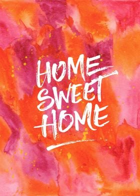 Home Sweet Home Handpainted Abstract Watercolor Orange  ...