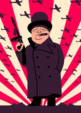 Retro style illustration of Winston Churchill with a To ...