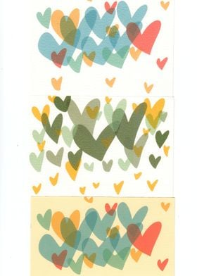 Multicolour heart motifs created from an collage of ori ...