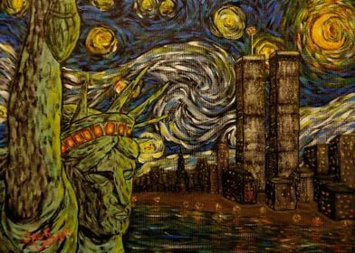 Dedication to Van Gogh NYC Starry Night: Twin Towers (T ...