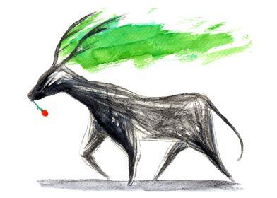 Dark Deer Tech: Watercolor and hand drawing