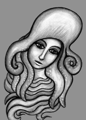 Octopus Hat - charcoal drawing