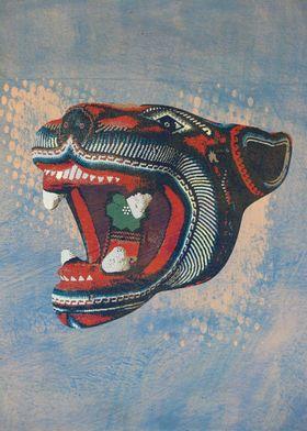 Digital illustration of a jaguar balam head