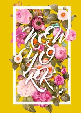 newyork typography and floral pattern