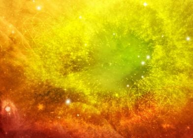 Universe made with watercolor brushes, Seed of Life geo ...