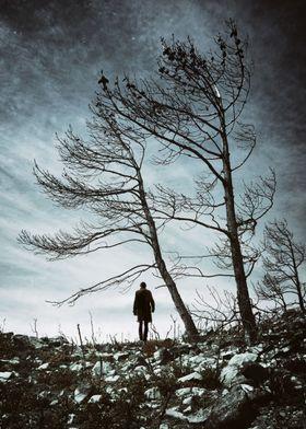 Silhouette on a men walking in a desolate lifeless fiel ...