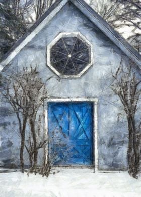 A mysterious house in the woods with a blue door colore ...