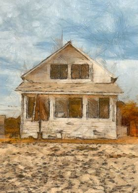 Beach Cottage - colored pencil by Edward Fielding depic ...