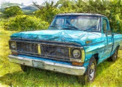 Colored pencil version of a classic blue vintage Ford p ...