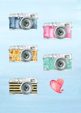 Vintage cameras in watercolor. Background in watercolor ...