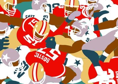 Illustration of a pile up in American Football