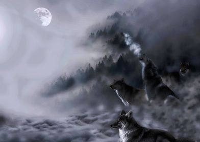 A stunning image digital art of 4 wolves on a mountains ...