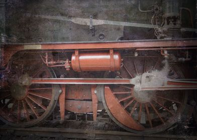 The wheel of the oldtimer locomotive. Closeup view of a ...