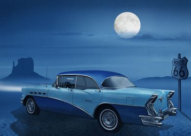 Vintage car on Route 66 in a mystical blue night with m ...