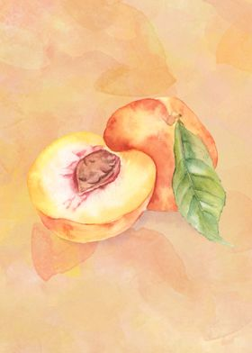 Peaches in watercolor on a background.