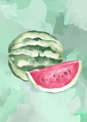 A watermelon in watercolor on a watercolor green backgr ...