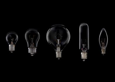 Light bulbs on black.