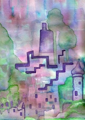 Castle Ruins - watercolor