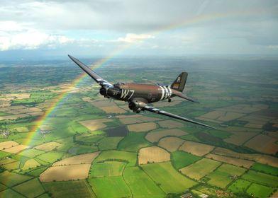 USAF C47 Skytraon W7 the D Day veteran set against a ra ...