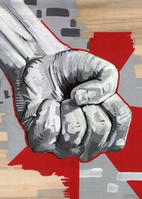 left fist in black and white acryl color on wood panel  ...