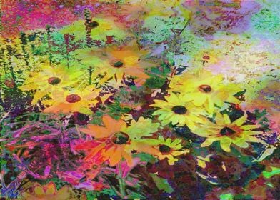 watercolor daisies flowers modern colorful rainbow oran ...
