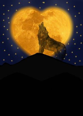 a lone wolf howls to the heart moon as he longs for lov ...