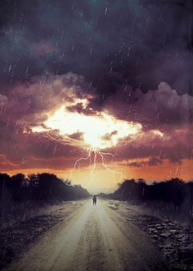 Storm Watching - an ominous storm approaches in the dar ...