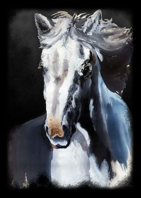 Horse Ghost - Wild White Horse from the Dark