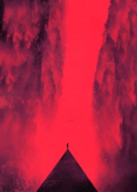 Red tinted surreal landscape with a lone person at the  ...