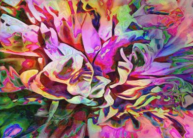 Abstract Colorful Painted Peony