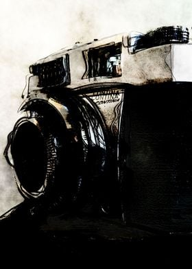 Vintage camera watercolor
