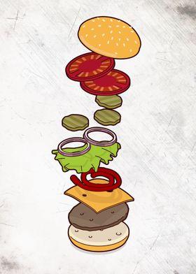 cheeseburger exploded - isometric