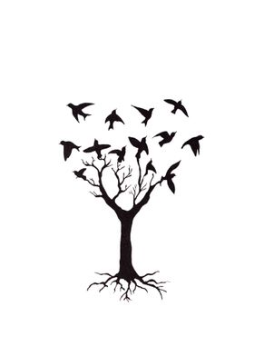 Illustration of tree and birds