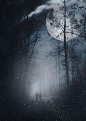 A couple walking under a big full moon...