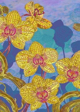 Colourful tropical orchids with intricate hand-drawn de ...