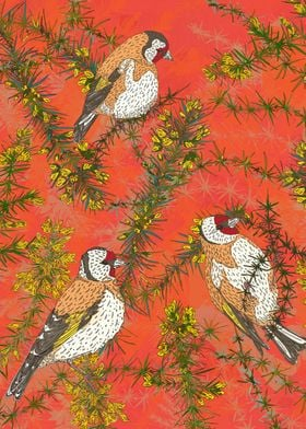 Colourful artwork with pretty little goldfinches sittin ...