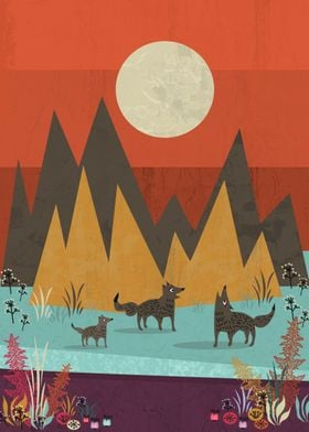 A cute wolf pack in an enchanted scenery!!!