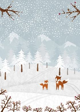 A lovely winter scenery with fox family!