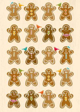 A cute gingerbread man pattern