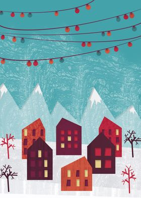 A holiday scenery of a winter village!