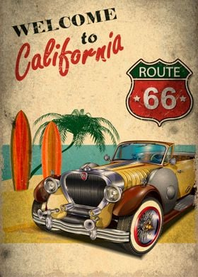 Welcome to California - Vintage Poster